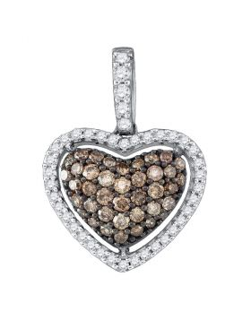 10kt White Gold Womens Round Brown Diamond Heart Pendant 1/2 Cttw