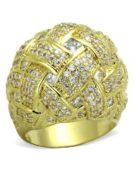 LO3353-5 - Brass Gold Ring AAA Grade CZ Clear