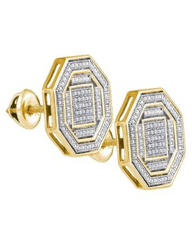 Sterling Silver Unisex Round Diamond Octagon Cluster Stud Earrings 1/6 Cttw