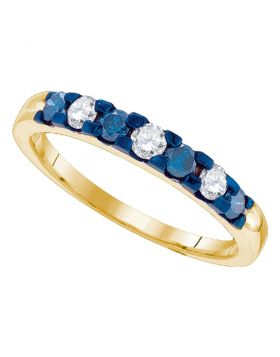 10kt Yellow Gold Womens Round Blue Color Enhanced Diamond Alternating Band 1/2 Cttw