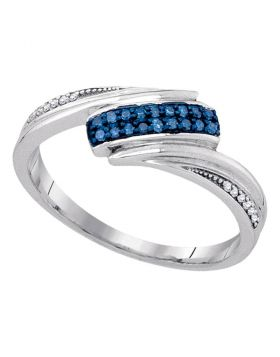 Sterling Silver Womens Round Blue Color Enhanced Diamond Band Ring 1/8 Cttw