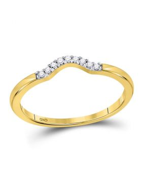 10kt Yellow Gold Womens Round Diamond Contoured Solitaire Enhancer Wedding Band 1/20 Cttw