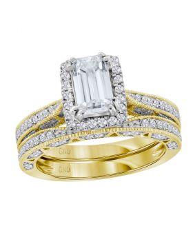14kt Yellow Gold Womens Emerald Diamond Bridal Wedding Engagement Ring Band Set 1-3/4 Cttw