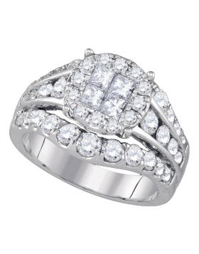 14kt White Gold Womens Princess Diamond Soleil Halo Bridal Wedding Engagement Ring 2.00 Cttw