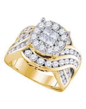 14kt Yellow Gold Womens Princess Round Diamond Soleil Cluster Bridal Wedding Engagement Ring 2-1/2 Cttw