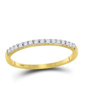 14k Yellow Gold Round Diamond Womens Slender Stackable Size 10 Wedding Band 1/6 Cttw