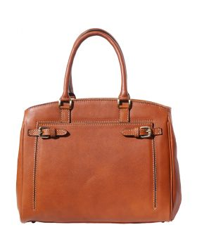 Shoulder tote bag in smooth leather - Tan