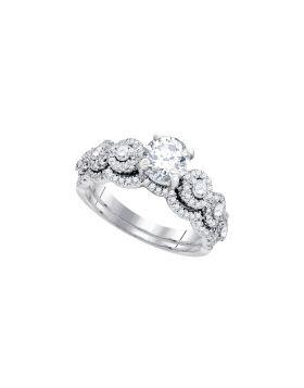 14kt White Gold Womens Round Diamond Bridal Wedding Engagement Ring Band Set 1-5/8 Cttw