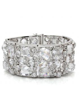 Bracelet,Brass,Rhodium,AAA Grade CZ,Clear