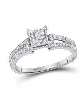 10kt White Gold Womens Elevated Diamond Square Cluster Bridal Wedding Engagement Ring 1/6 Cttw