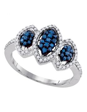 10kt White Gold Womens Round Blue Color Enhanced Diamond Triple Cluster Ring 1/2 Cttw