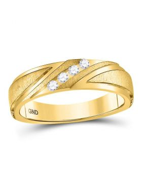 10k Yellow Gold Unisex Round Diamond Channel-set Wedding Anniversary Band Ring 1/6 Cttw