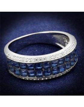 TS526-5 - 925 Sterling Silver Rhodium Ring Synthetic Montana