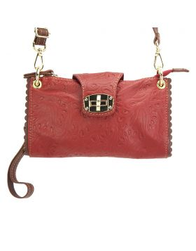 Be Exclusive S leather clutch - Red/Brown