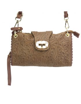 Be Exclusive S leather clutch - Dark Taupe/Brown