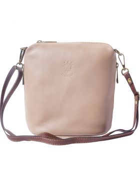 Felicità Soft crossbody leather bag - Light Taupe/Brown