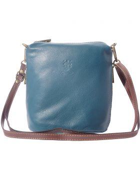 Felicità Soft crossbody leather bag - Dark Cyan/Brown