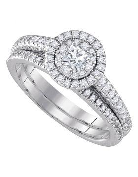 14kt White Gold Womens Princess Diamond Halo Bridal Wedding Engagement Ring Band Set 3/4 Cttw