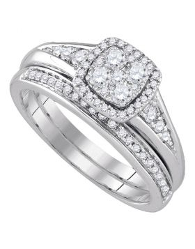 14kt White Gold Womens Round Diamond Halo Bridal Wedding Engagement Ring Band Set 5/8 Cttw