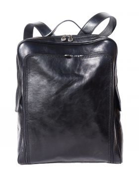 Flat leather  backpack - Black