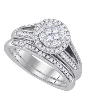 14kt White Gold Womens Princess Round Diamond Soleil Bridal Wedding Engagement Ring Band Set 5/8 Cttw