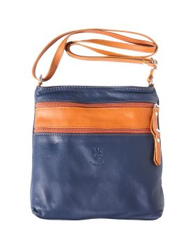 Chiara leather crossbody bag - Blue/Tan