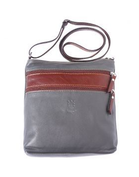 Chiara leather crossbody bag - Grey/Brown