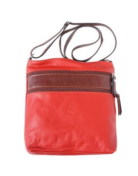 Chiara leather crossbody bag - Red/Brown