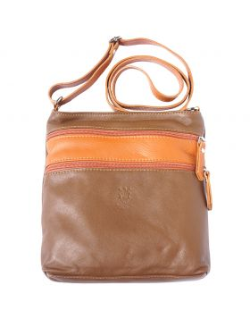 Chiara leather crossbody bag - Dark Taupe/Tan