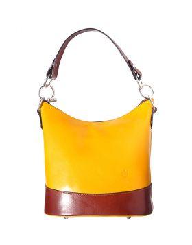 Simona leather shoulder bag - Yellow/Brown