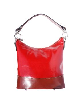 Simona leather shoulder bag - Red/Brown