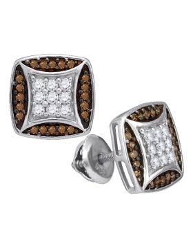 10kt White Gold Womens Round Brown Diamond Square Cluster Earrings 1/2 Cttw