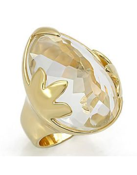 LOS206-7 - 925 Sterling Silver Gold Ring Genuine Stone Clear