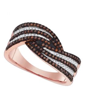 10kt Rose Gold Womens Round Red Color Enhanced Diamond Band Ring 3/8 Cttw