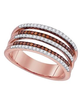 10kt Rose Gold Womens Round Red Color Enhanced Diamond Strand Band Ring 3/8 Cttw