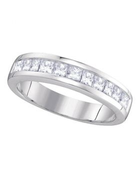 14kt White Gold Womens Princess Channel-set Diamond Single Row Wedding Band 1 Cttw