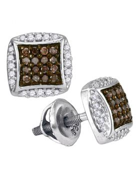 10kt White Gold Womens Round Brown Diamond Square Cluster Earrings 1/3 Cttw