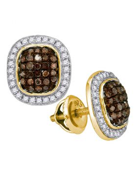10kt Yellow Gold Womens Round Brown Diamond Oval Cluster Earrings 1/2 Cttw