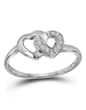 Sterling Silver Womens Round Diamond Double Linked Heart Ring 1/20 Cttw