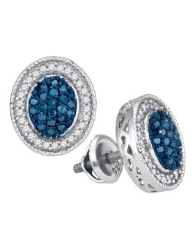 10kt White Gold Womens Round Blue Color Enhanced Diamond Oval Frame Cluster Earrings 1/2 Cttw