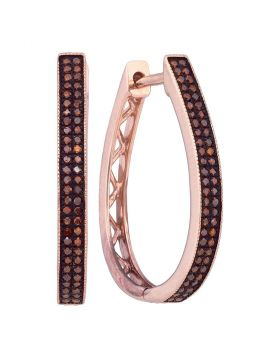 10kt Rose Gold Womens Round Red Color Enhanced Diamond Hoop Earrings 1/3 Cttw