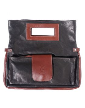 Giuliana Leather Handbag - Black/Brown