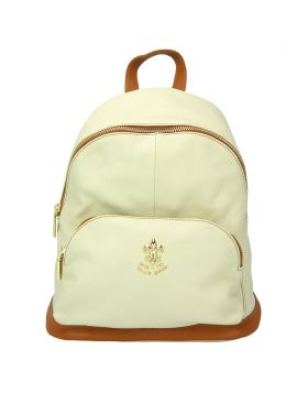 Carola leather backpack - Beige/Tan