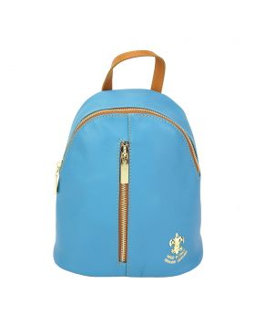 Lorella leather backpack - Cyan/Tan