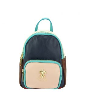 Alessia leather Backpack - Blue/Beige/Pink