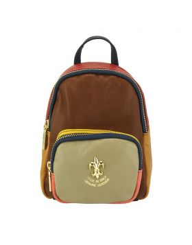 Alessia leather Backpack - Brown/Taupe/Red
