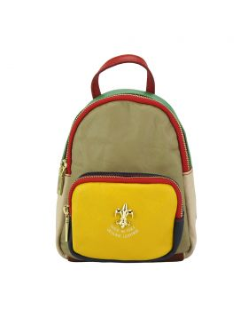 Alessia leather Backpack - Taupe/Yellow/Green