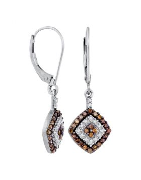 10kt White Gold Womens Round Brown Diamond Square Dangle Earrings 1/2 Cttw