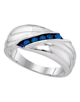 Sterling Silver Unisex Round Blue Color Enhanced Diamond Wedding Anniversary Band Ring 1/3 Cttw