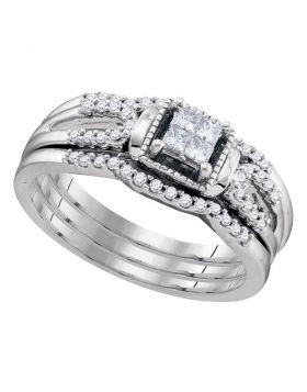 10kt White Gold Womens Princess Diamond 3-Piece Bridal Wedding Engagement Ring Band Set 1/4 Cttw